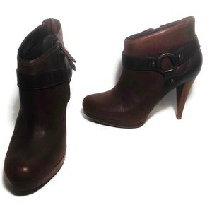 Cole Haan Nike Air Brown Leather Ankle Boots